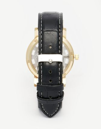 Reclaimed Vintage Exposed Mechanics Watch In Black Leather