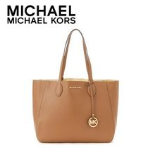 ☆Michael Kors☆ MAE Soft Leather Carryall ACORN/PALE GOLD♪