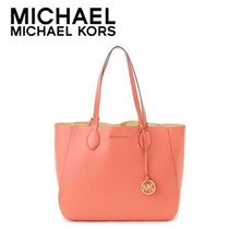 ☆Michael Kors☆ MAE Soft Leather Carryall PINK /PALE GOLD♪