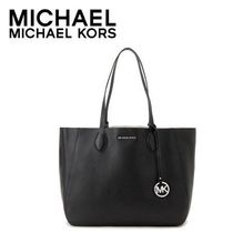 ☆Michael Kors☆ MAE Soft Leather Carryall BLACK/SILVER♪