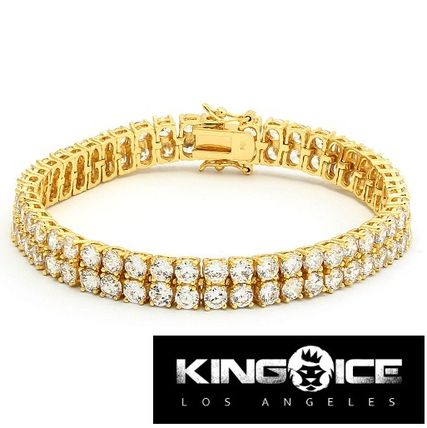 King Ice Gold Plated 2 Rows CZ Bracelet