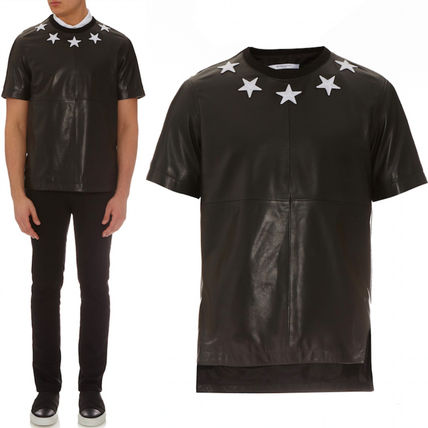 16SS G079 STAR PATCH LEATHER T-SHIRT