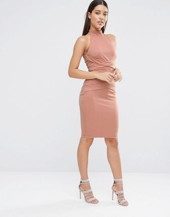 NaaNaa Midi Pencil Dress With Cross Front Detail
