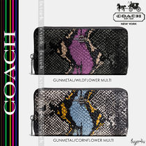 COACH★ACCORDION ZIP WALLET IN EXOTIC EMBOSSED LEATHER 53829
