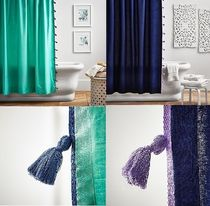 【国内発送】PotteryBarn☆Color on Color Tassel ShowerCurtain