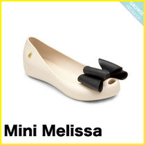 【Melissa】メリッサ Girl's Sweet Bow Peep-Toe Ballet Flats