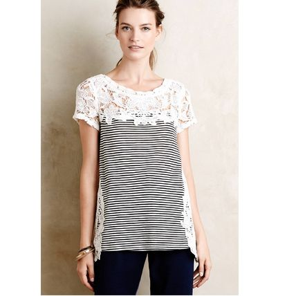 *Anthropologie* Lace Edge Tシャツ トップス