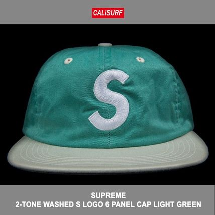 2-TONE WASHED S LOGO 6 PANEL CAP LIGHT GREEN