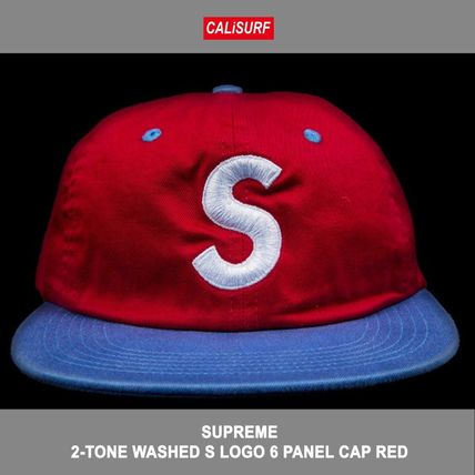 2-TONE WASHED S LOGO 6 PANEL CAP RED