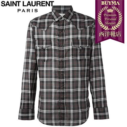 16/17秋冬入荷!┃SAINT LAURENT┃CASUAL PLAID SHIRT┃11500468
