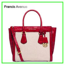追跡有Michael Kors Colette Zip Large Satchel ECRU/Chili