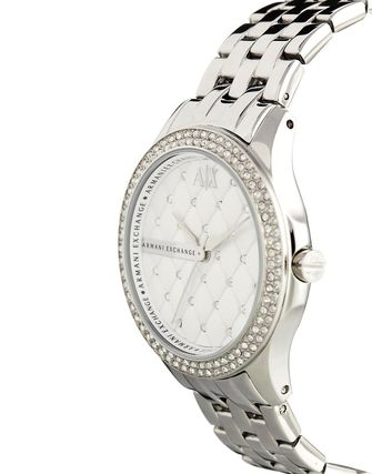 Armani Exchange Lady Hampton Silver Diamante Watch