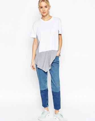 ASOS WHITE T-Shirt with Silk Mix Contrast Panel