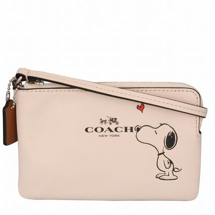coach pink and gray purse fyuo  Limited Edition Coach Snoopy Corner Zip Wristlets
