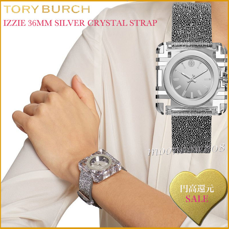 【円高還元☆SALE】Tory Burch IZZIE SILVER CRYSTAL