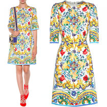 16-17AW DG528 MAJOLICA PRINT BROCADE TRAPEZE DRESS