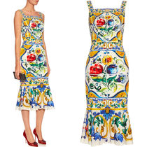 16-17AW DG534 MAJOLICA PRINT SILK CHARMEUSE DRESS