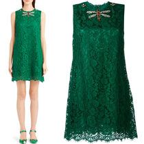 16-17AW DG537 CORDONETTO LACE A-LINE DRESS WITH JEWEL