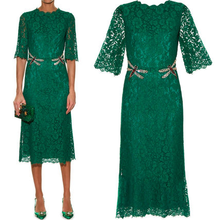 16-17 AW DG 538 CORDONETTO LACE MIDI DRESS WITH JEWEL