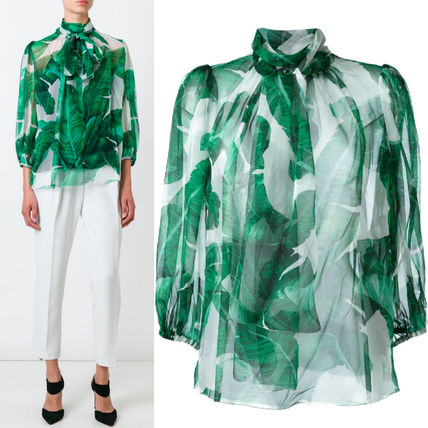16-17AW DG543 BANANA LEAF PRINTED SILK BLOUSE WITH BOW