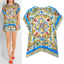16-17AW DG563 MAJOLICA PRINT SILK TWILL TOP WITH FRINGE