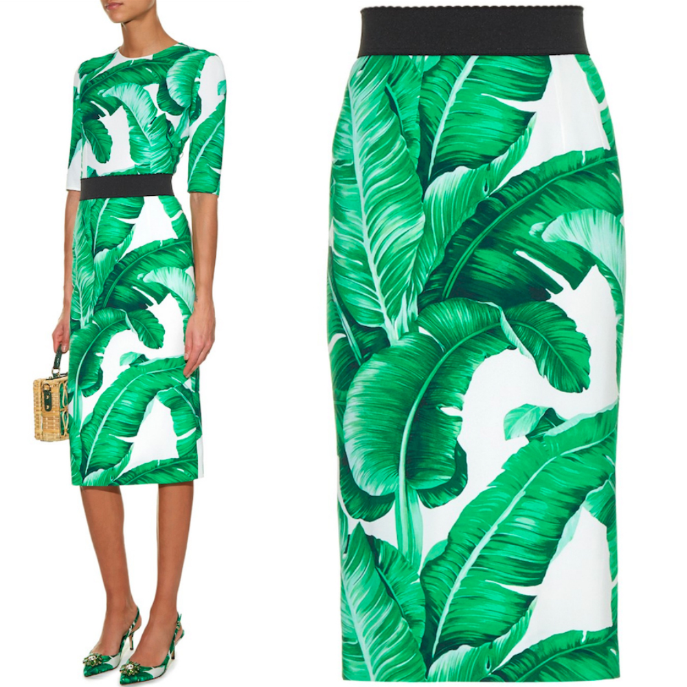 16-17AW DG569 BANANA LEAF PRINTED PENCIL SKIRT