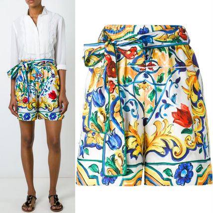 16-17AW DG571 MAJOLICA PRINT BELTED SILK SHORTS