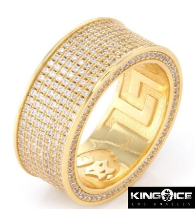 .925 Sterling Silver 14K Gold Infinity Ring - 7 Row