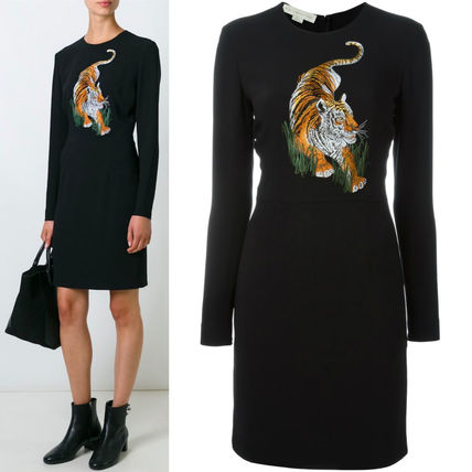 16-17AW SM235 TIGER EMBROIDERED MINI DRESS