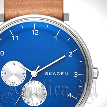 ★NEW★SKAGEN Tan Leather Band Blue Dial Watch SKW6167