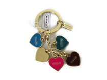 COACH  Multi Heart Mix Key Ring Keychain FOB F66398
