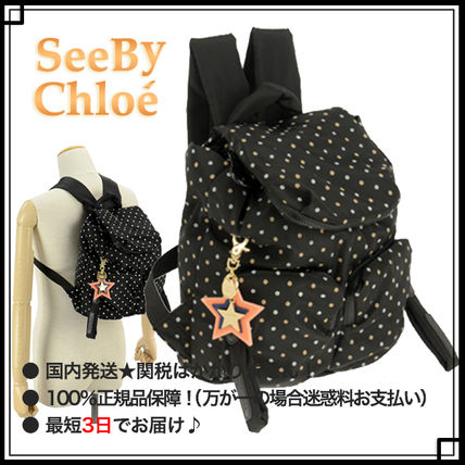 See by Chloe マザーズバッグ 【SEE BY CHLOE】マザースリュック バックパック ◆ ドット柄 黒