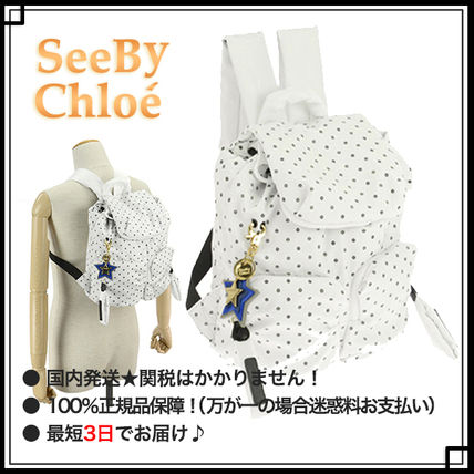 See by Chloe マザーズバッグ 【SEE BY CHLOE】マザースリュック バックパック ◆ ドット柄 白