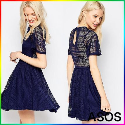 ASOS Skater Dress With Lace Back and Keyhole 関税/送料込