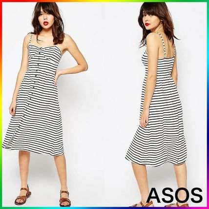 ASOS Midi Sundress In Stripe With Button Front 関税/送料込