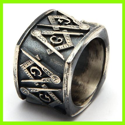 18MM Sterling Silver Masonic Vintage Square Ring