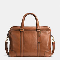 【 COACH 】 Leather Slim Briefcase レザー ブリーフケース 茶