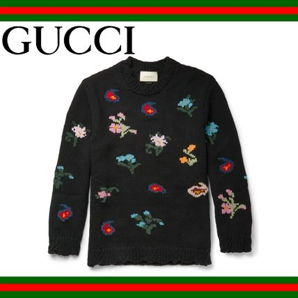 GUCCI (グッチ) Intarsia Wool Blend Sweater 花柄セーター