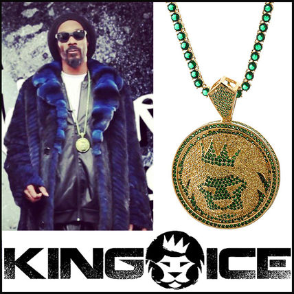 """King Ice"" Gold Plated Emerald Green CZ Magnus Lion Necklace"
