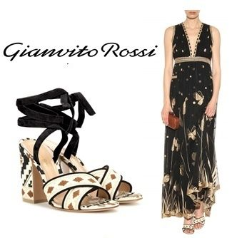 ◆GIANVITO ROSSI ◆Cheyenne embroidered canvas sandals