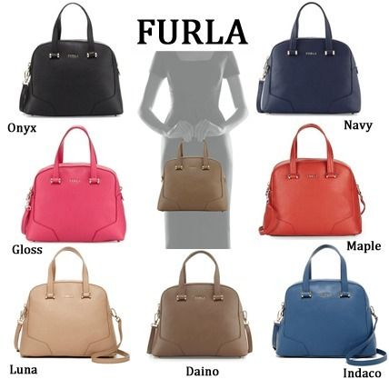 FURLA Michelle Leather Dome Satchel Bag レザー ハンドバッグ