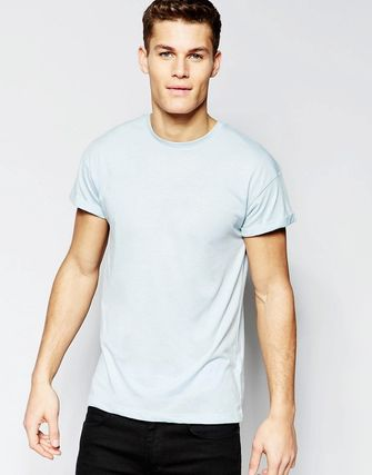 New Look Rolled Sleeve T-Shirt In Blue