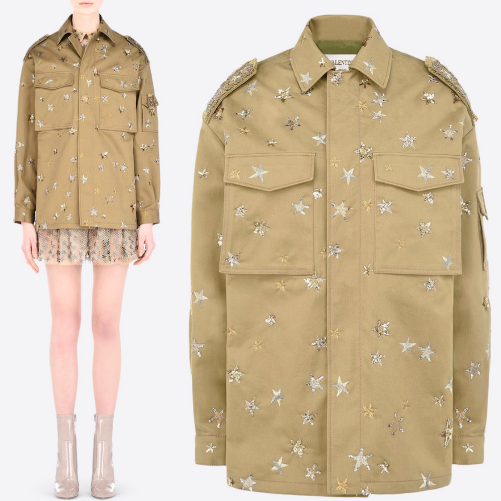 "16-17AW V371 ""STAR STUDDED"" EMBROIDERED FIELD JACKET"