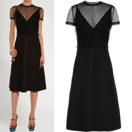 16-17AW V376 GATHERED-TULLE AND CREPE DRESS