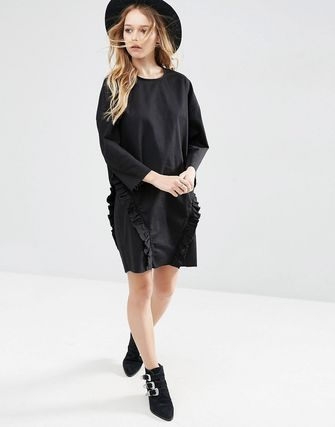 ASOS Denim Ovoid Shift Dress With Ruffle in Washed Black