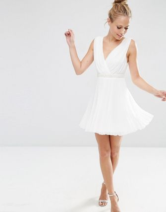 ASOS Pleated Mini Skater Dress With Embellished Waist