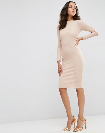 ASOS Bodycon Dress with Sexy Seam Detail in Rib