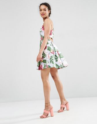 ASOS PETITE Strappy Prom Dress in Floral Print