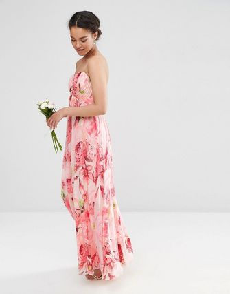 ASOS PETITE WEDDING Floral Printed Rouched Bandeau