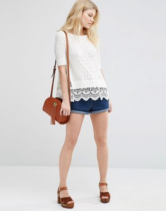 ASOS PETITE Jumper in Pointelle with Crochet Trim
